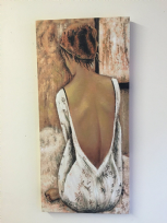 Oil on Canvas Woman in Backless Dress Detailed Wall Art